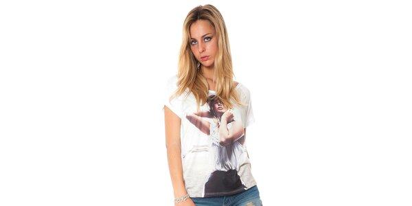 Dámské bílé tričko s potiskem Bella rosa