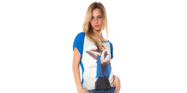 Dámské modré tričko s potiskem Bella rosa