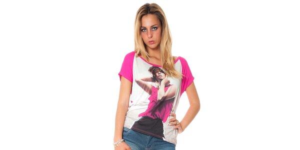 Dámské růžové tričko s potiskem Bella rosa