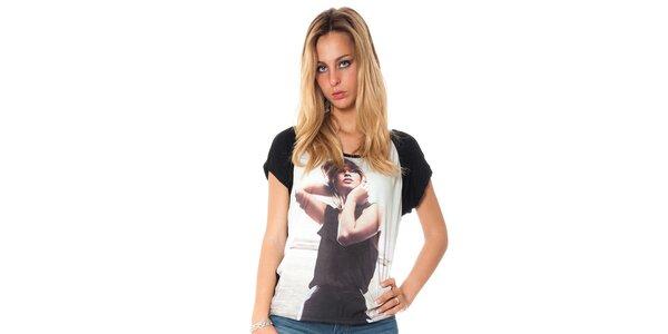 Dámské černé tričko s potiskem Bella rosa