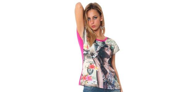 Dámské volné fuchsiové tričko s potiskem Bella rosa