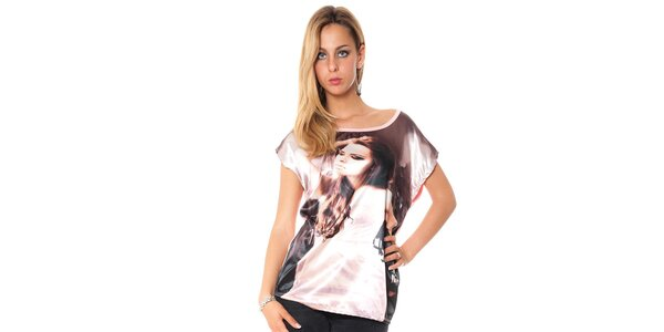 Dámské volné růžové tričko s potiskem Bella rosa