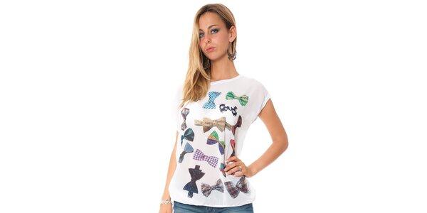 Dámské bílé tričko s potiskem motýlků Bella rosa