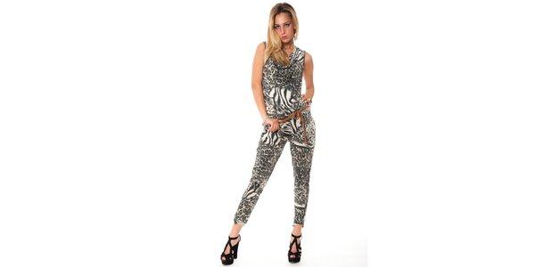 Dámský šedý leopardí overal Bella Rosa