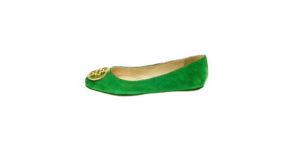 Dámské zelené semišové baleríny se zlatou sponou Hope