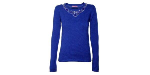 Dámský královsky modrý úpletový svetr s plikacemi Hope