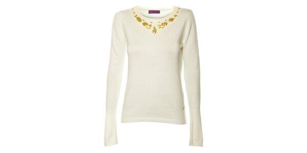 Dámský bílý úpletový svetr s plikacemi Hope