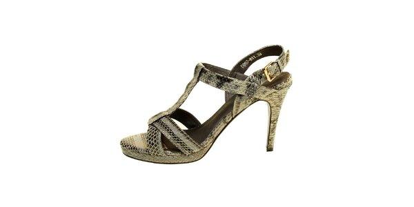 Dámské šedé páskové sandály s hadím vzorem Hope