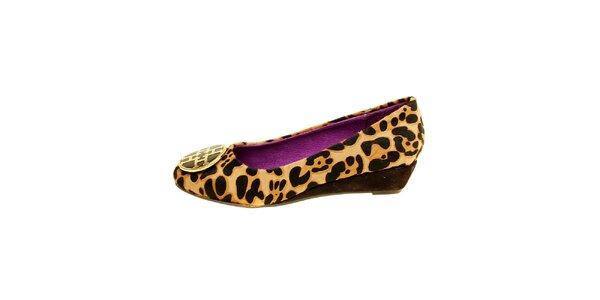 Dámské leopardí kožené baleríny se sponou Hope