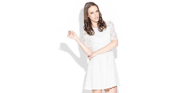 Dámské bílé krajkové šaty Katrus