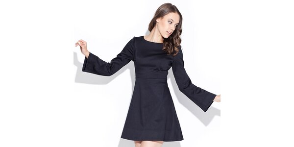 Dámské lesklé černé šaty Katrus
