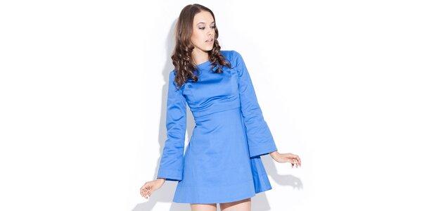 Dámské lesklé modré šaty Katrus