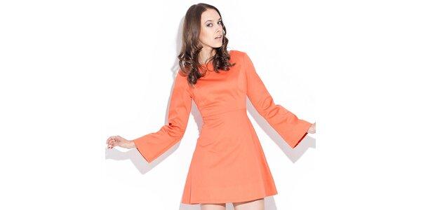 Dámské lesklé oranžové šaty Katrus