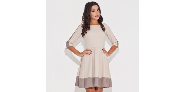 Dámské béžové šaty s kontrastním lemem Katrus