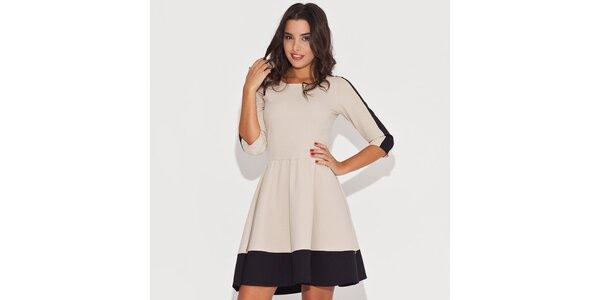 Dámské černobéžové šaty s kontrastním lemem Katrus