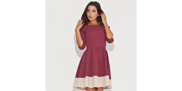 Dámské červené šaty s kontrastním lemem Katrus