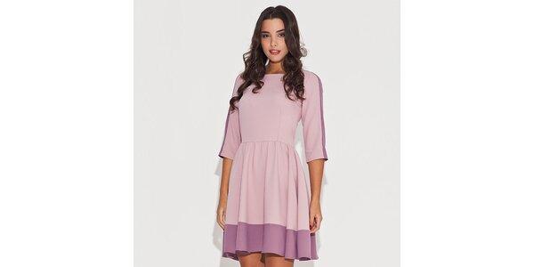 Dámské růžové šaty s kontrastním lemem Katrus