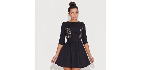 Dámské černé šaty s krajkovými průhledy Katrus