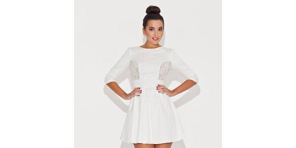 Dámské bílé šaty s krajkovými průhledy Katrus