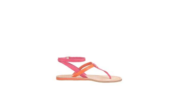 Dámské oranžovo-růžové sandály Flip Flop