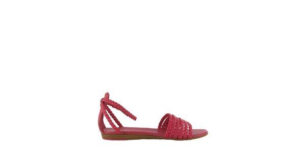 Dámské růžové sandály Flip Flop s propletenými pásky