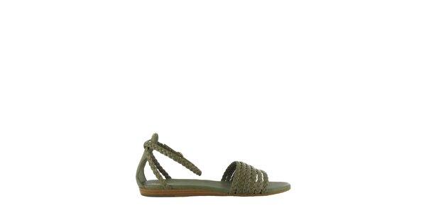 Dámské khaki sandály Flip Flop s propletenými pásky