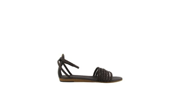 Dámské tmavě hnědé sandály Flip Flop s propletenými pásky