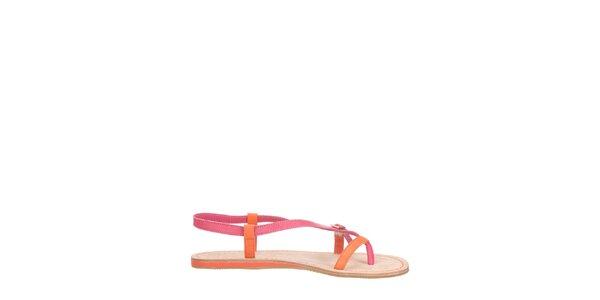Dámské oranžovo-růžové páskové sandálky Flip Flop