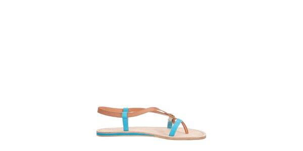 Dámské hnědo-tyrkysové páskové sandálky Flip Flop