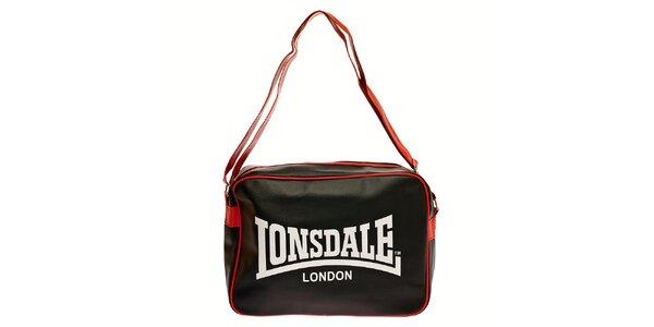 Dámská černá taška přes rameno Lonsdale s červeným lemem