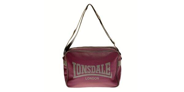 Dámská tmavě fialová taška přes rameno Lonsdale s šedým lemem