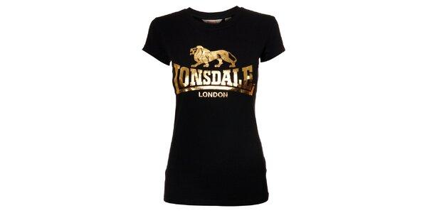 Dámské černé tričko Lonsdale se zlatým potiskem
