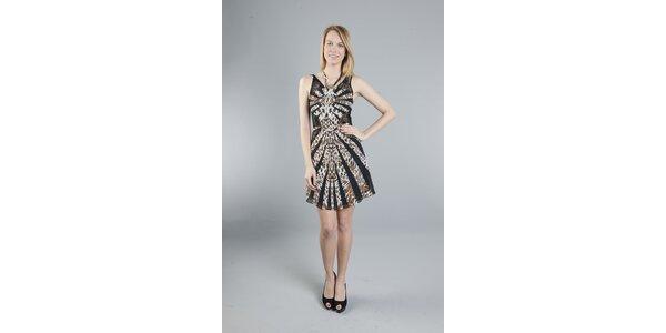 Dámské černo-hnědé leopardí šaty Via Bellucci
