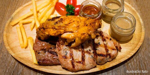 Vepřový, kuřecí i hovězí steak z grilu pro dva