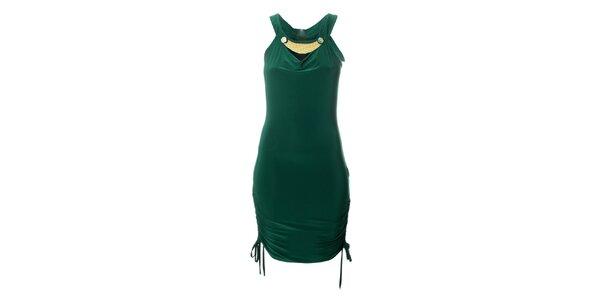 Dámské tmavě zelené šaty Via Bellucci se zipem