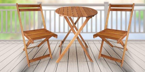 Balkonový set stolu a 2 židlí z akácie