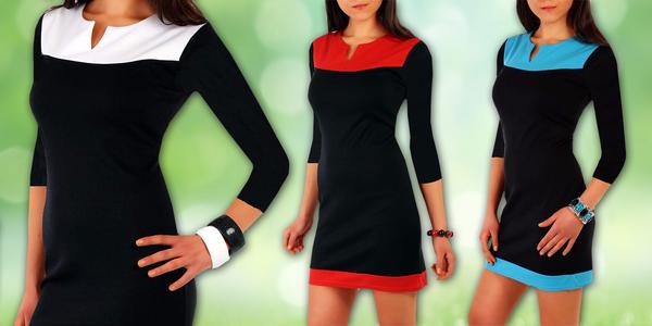 4970921889e Dvoubarevné šaty s 3 4 rukávem