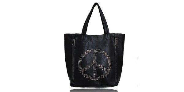 Dámská černá kabelka s mírovým symbolem a malou taštičkou London Fashion