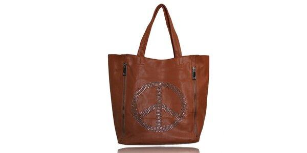 Dámská karamelová kabelka s mírovým symbolem a malou taštičkou London Fashion
