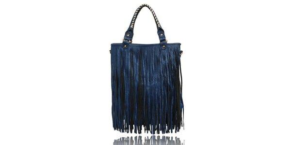 Dámská modrá kabelka s třásněmi London Fashion