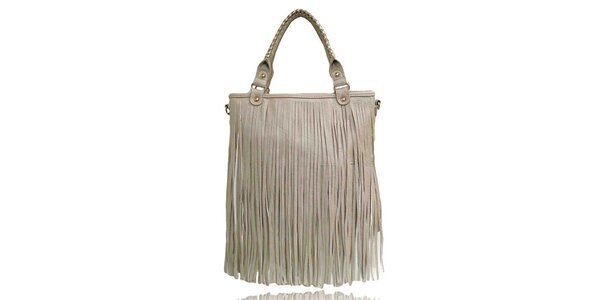Dámská béžová kabelka s třásněmi London Fashion