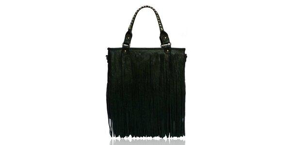 Dámská černá kabelka s třásněmi London Fashion