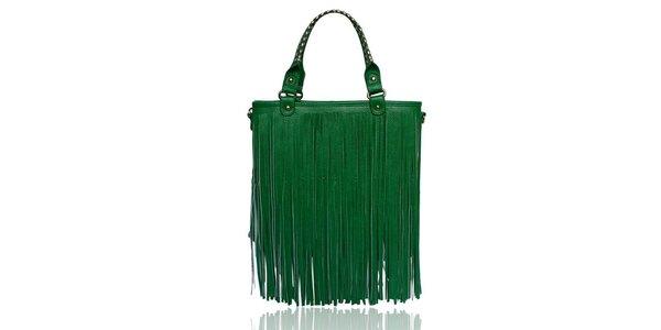 Dámská zelená kabelka s třásněmi London Fashion