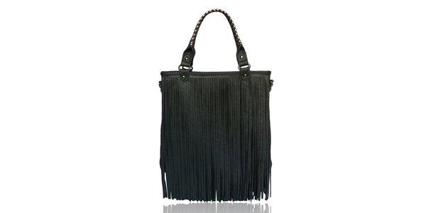 Dámská šedá kabelka s třásněmi London Fashion