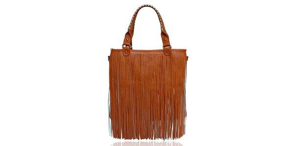 Dámská oranžová kabelka s třásněmi London Fashion