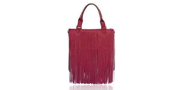 Dámská růžová kabelka s třásněmi London Fashion