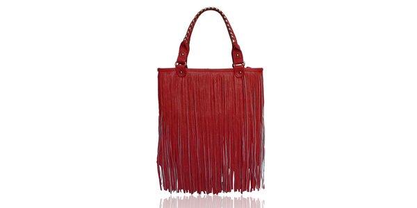 Dámská červená kabelka s třásněmi London Fashion