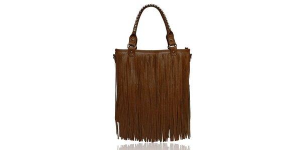 Dámská hnědá kabelka s třásněmi London Fashion