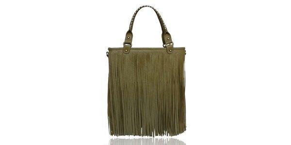 Dámská khaki kabelka s třásněmi London Fashion