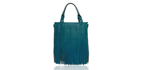 Dámská tyrkysová kabelka s třásněmi London Fashion